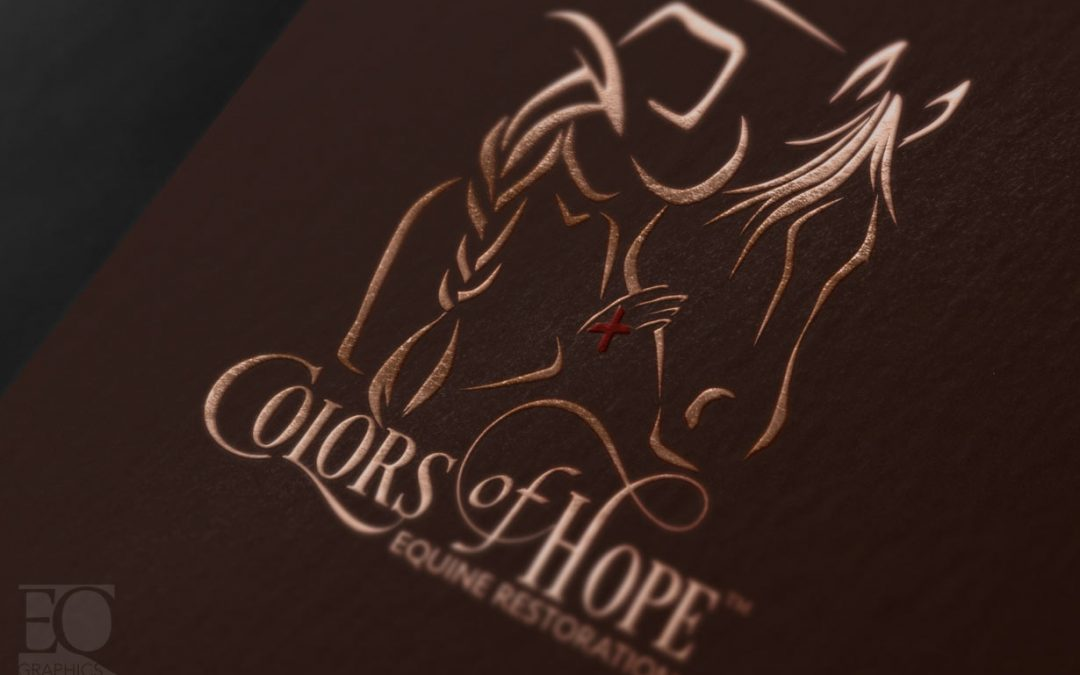 Colors of Hope Equine Restoration Logo Design by EQ Graphics Cowgirl Horse Logos