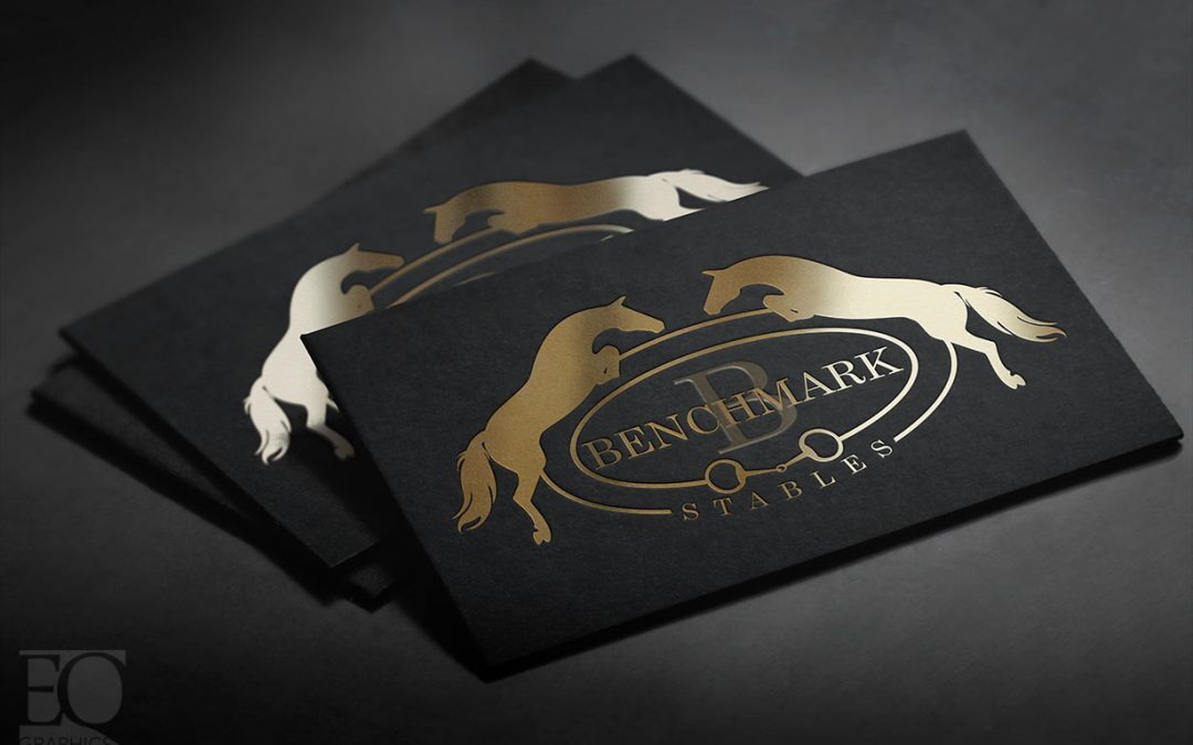 Benchmark Stables Chicago Illinois Hunter Jumper Facility Logo by EQ Graphics Horse Logos