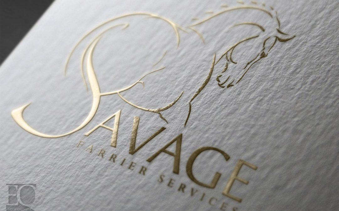 Savage Farrier Services Custom Horse Logo Design by EQ Graphics Equine Blacksmith and Horse Shoeing Logos