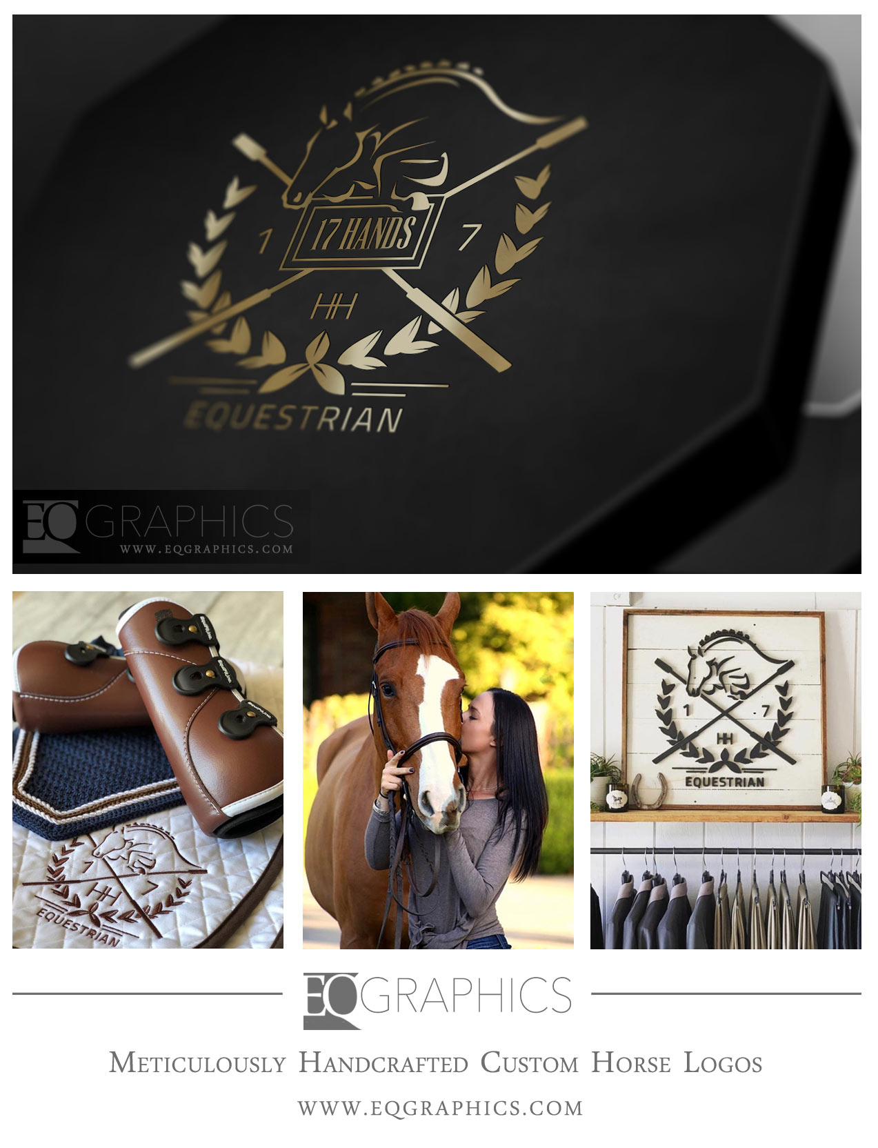 17H Equestrian Custom Hand-Drawn Horse Logo Design by EQ Graphics Equine Logos