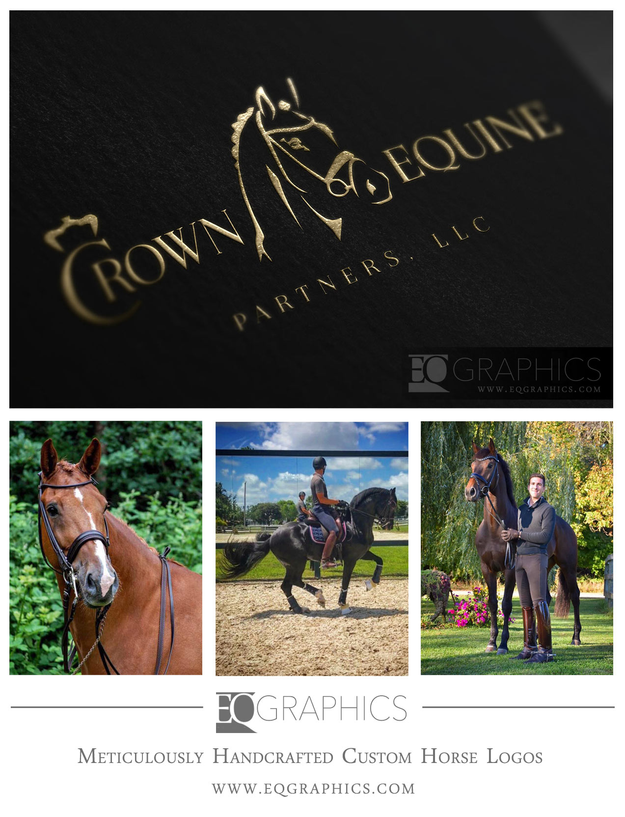 Crown Partner Handcrafted Dressage Logo by EQ Graphics Equestrian Design