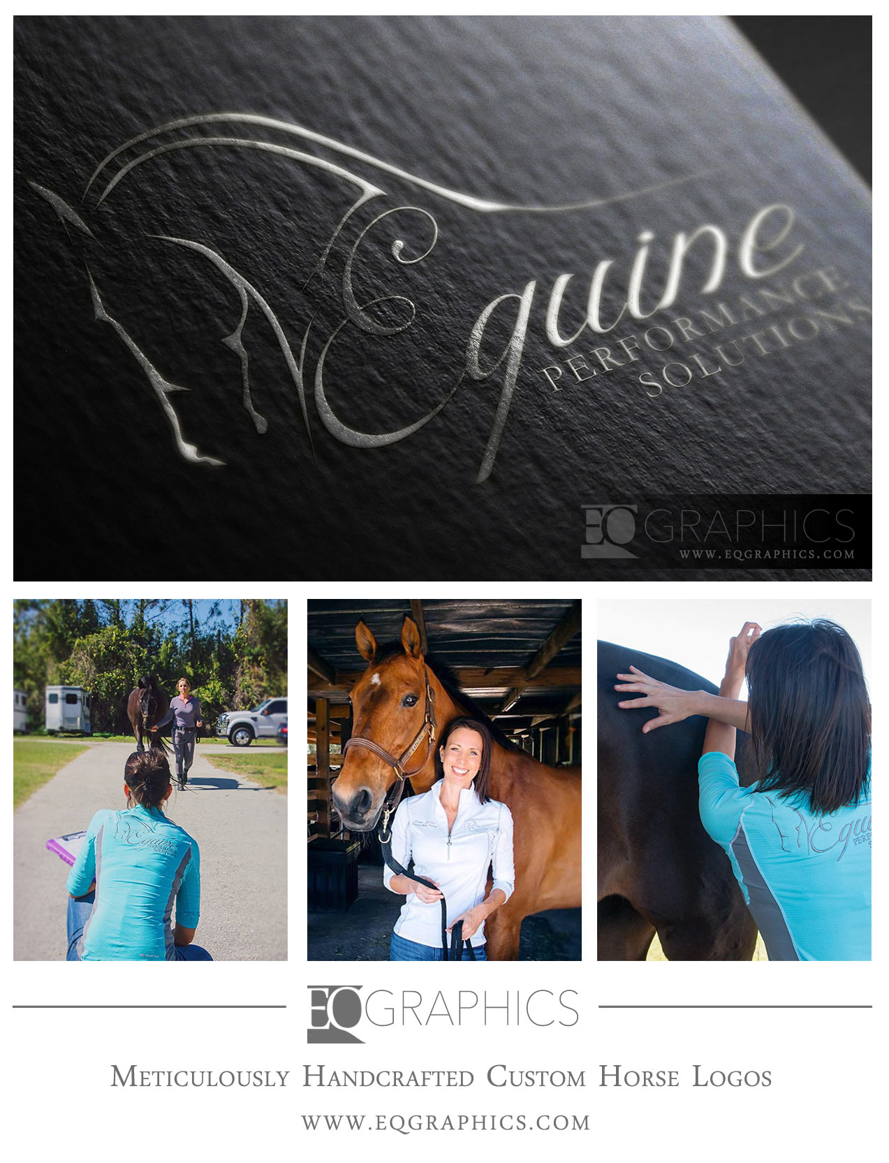 Equine Performance Solutions Custom Hand-Drawn Horse Logo Design by EQ Graphics Equine Logos