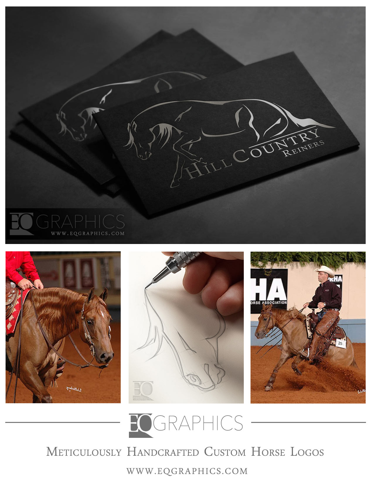 Hill Country Reiners Custom Hand-Drawn Horse Logo Design by EQ Graphics Equine Logos