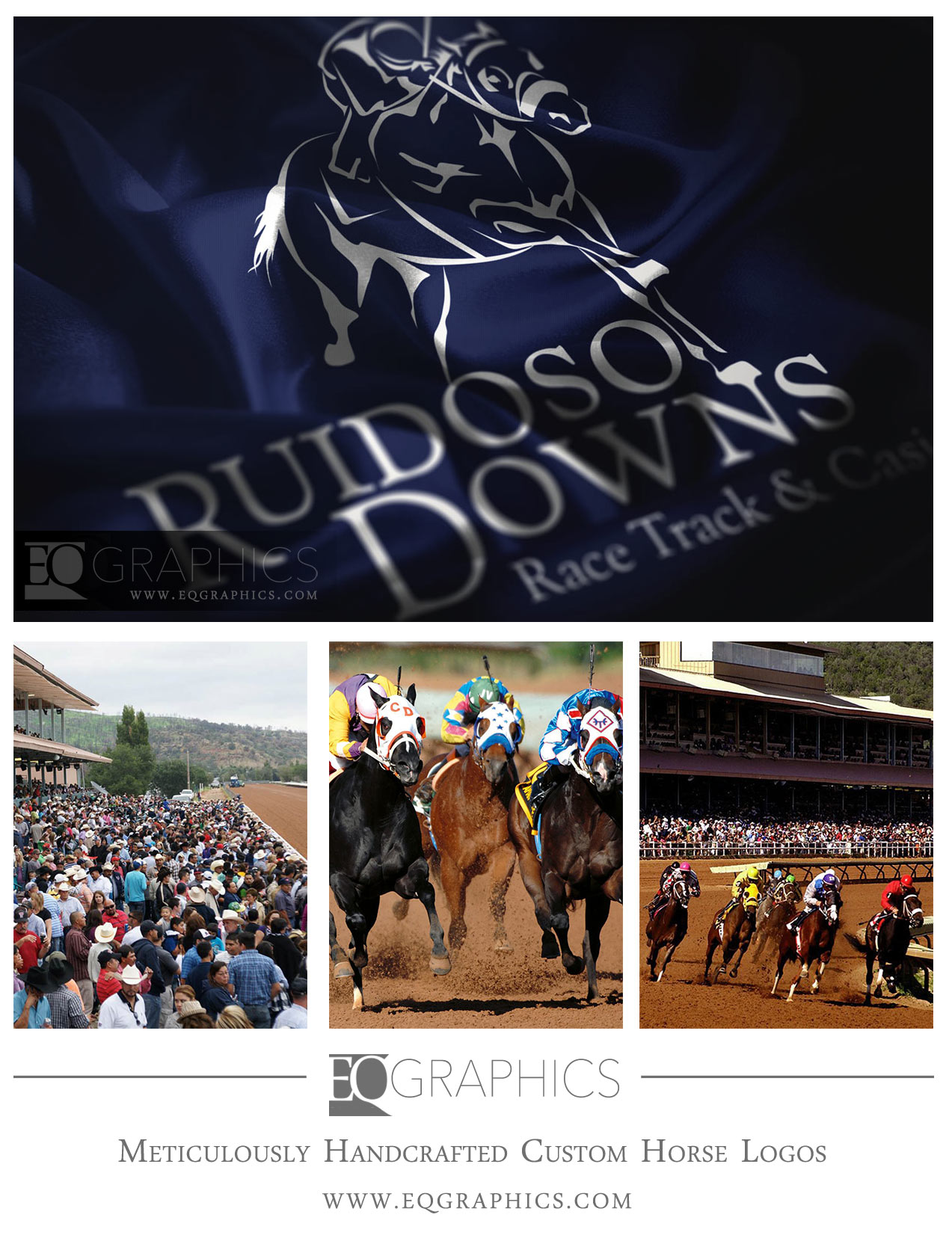 Ruidosoo Downs Custom Hand-Drawn Racehorse Logo Design by EQ Graphics Equine Logos