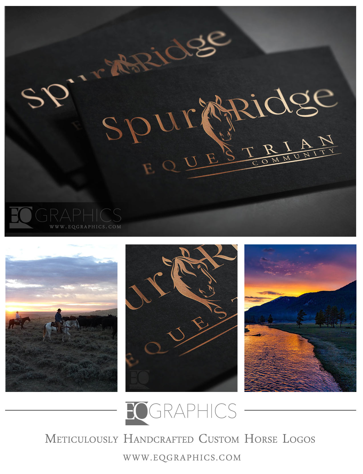 Spur Ridge Ranch Custom  Horse Logo by EQ Graphics Equine Designer