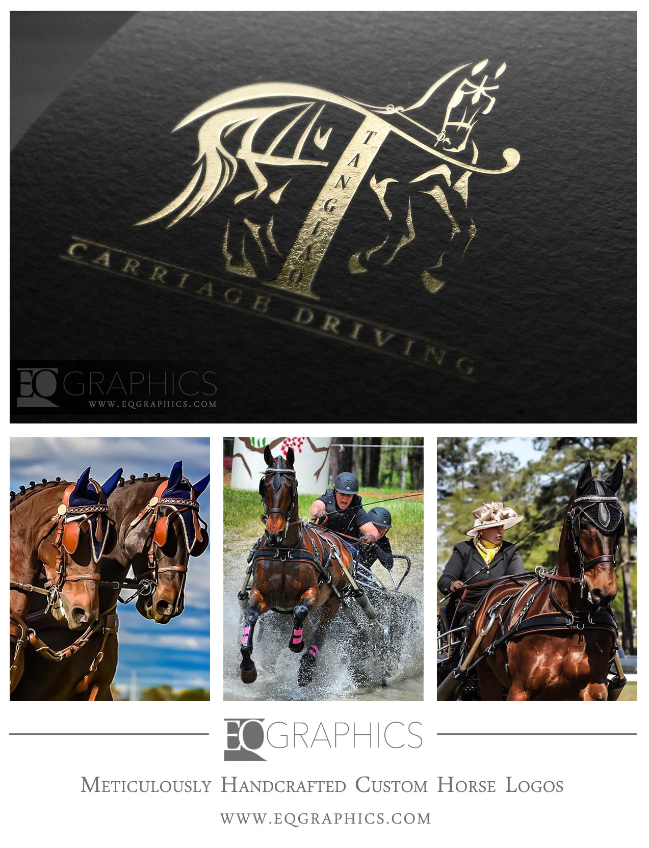 Tanglao Carriage Driving Custom CDE Horse Logo by EQ Graphics Equine Designer