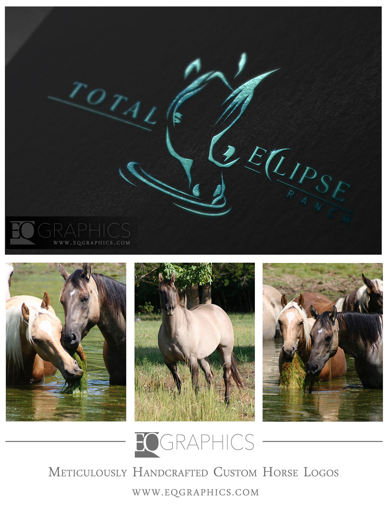 Total Eclipse  Handcrafted Ranch Logo by EQ Graphics Equestrian Design