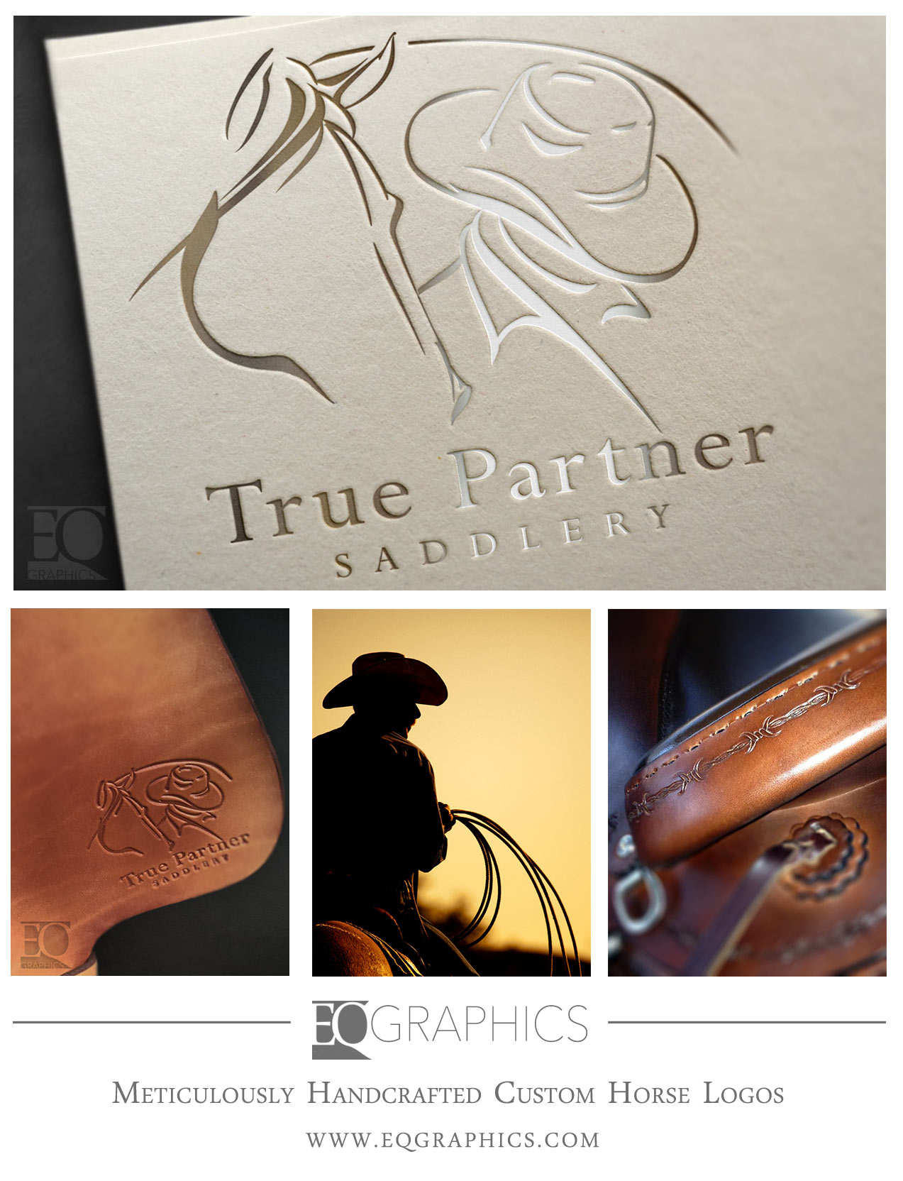 True Partner Saddlery Custom Hand-Drawn Horse Logo Design by EQ Graphics Equine Logos