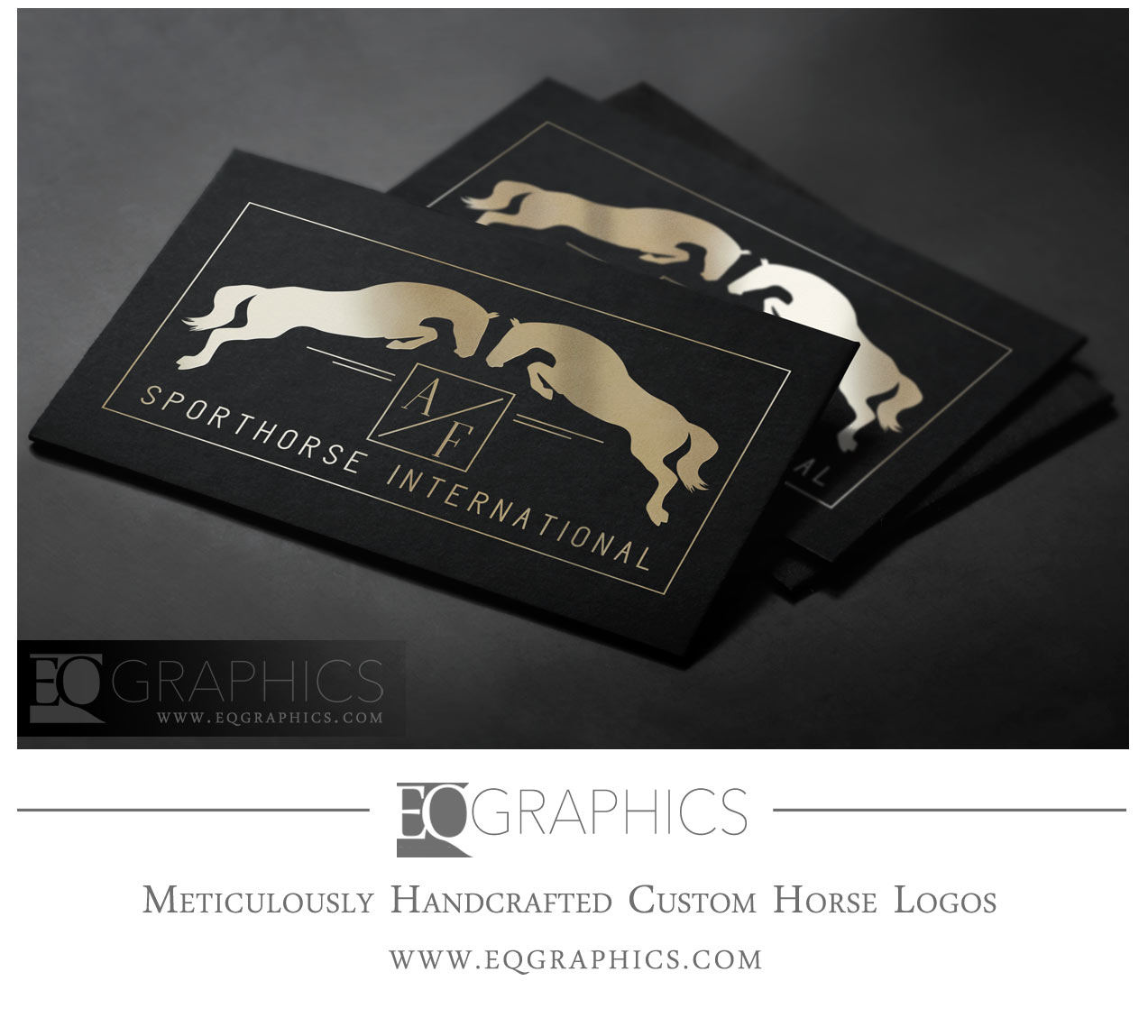 AF Sporthorses Jumping Horse Silhouette Jumper Logo by EQ Graphics Custom Logos