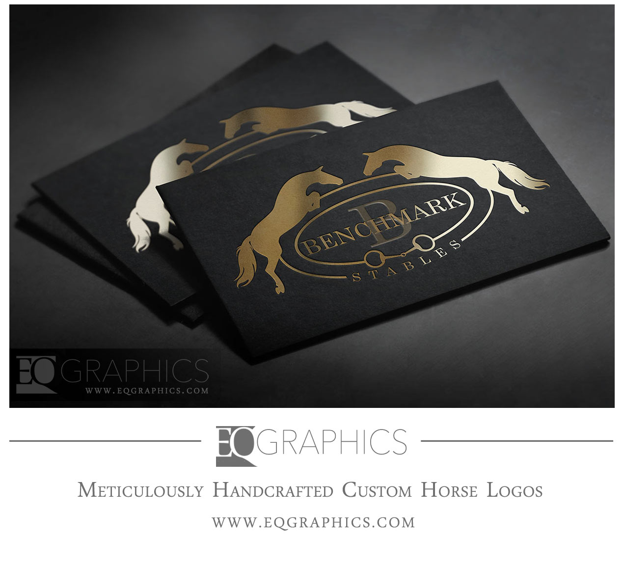 Benchmark Stables Hunter Jumper Equine Logo Design by EQ Graphics Horse Logos