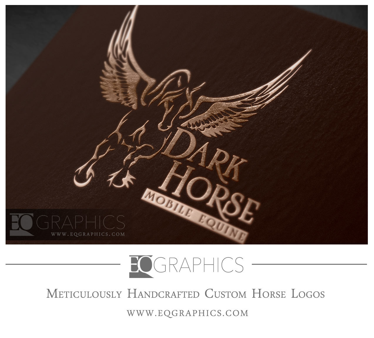 Dark Horse Mobile Equine Veterinary Logo for Veterinarian Pegasus Friesian Horse Design
