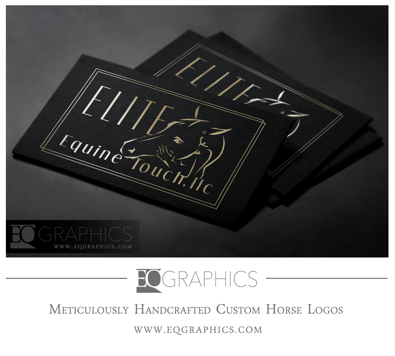 Elite Equine Touch Massage Logo Horse Human Hands Design by EQ Graphics Designer Equine Logos