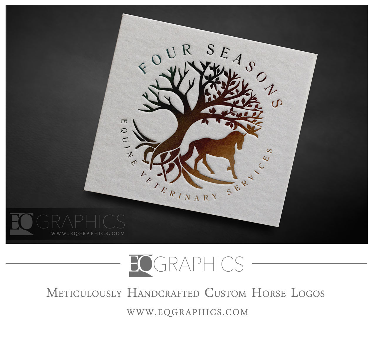 Four Seasons Equine Veterinary Services Logo Design Horse and Tree by EQ Graphics Logos