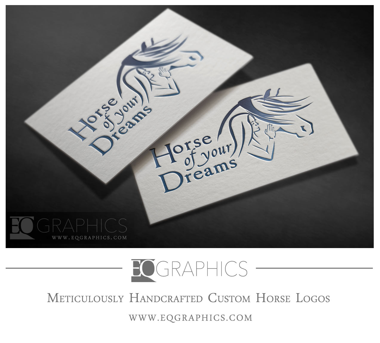 Horse of your Dreams Logo Person Woman Wind Mane Blowing Logo Design by EQ Graphics Designer Equine Logos