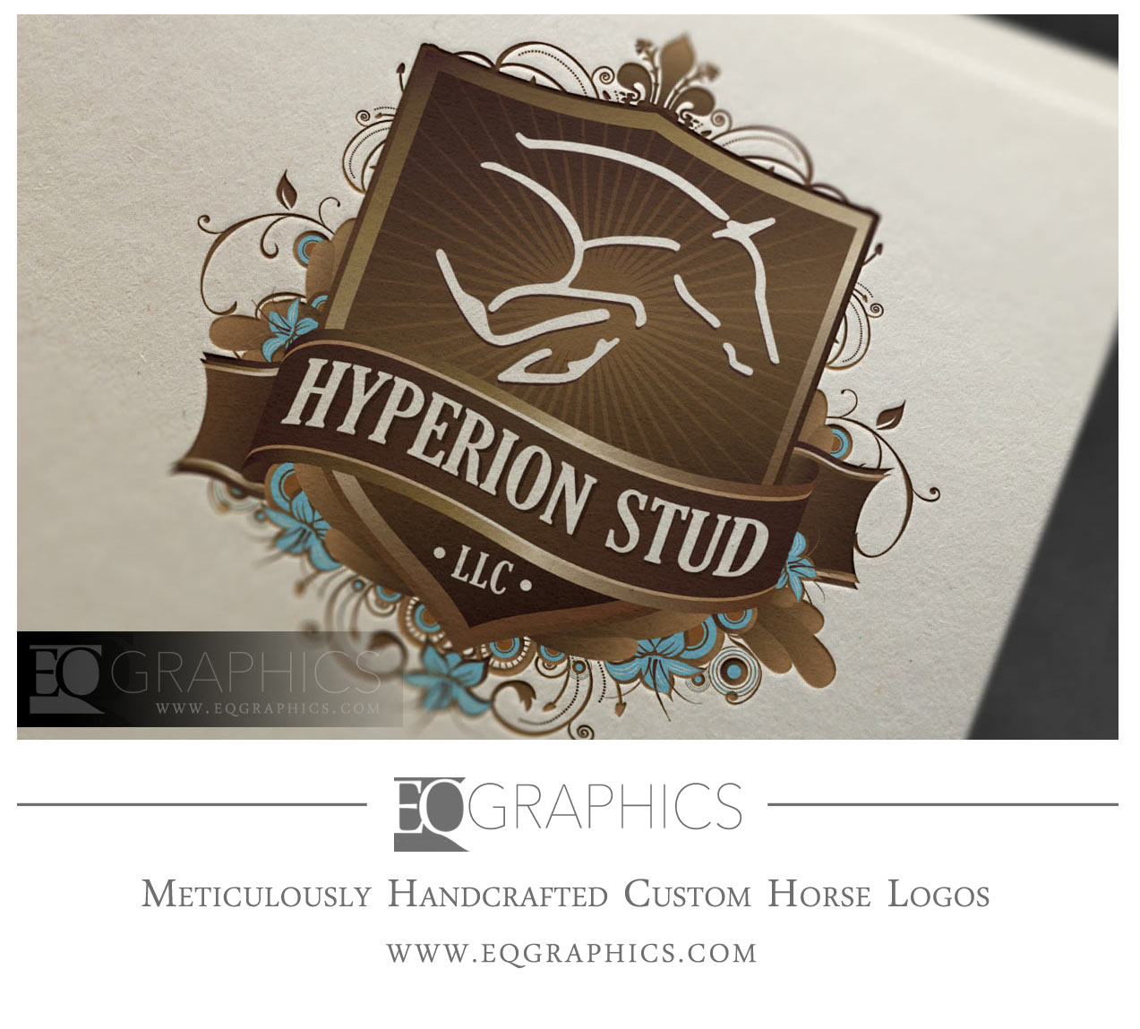 Hyperion Stud Jumping Horse Stallion Farm Showjumper Logo Design by EQ Graphics Custom Logos