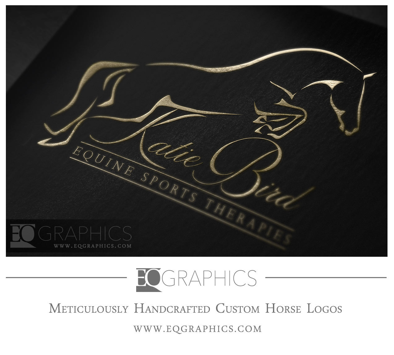 Katie Bird Jumping Horse Hunter Jumper HJ Logo in Gold Card by EQ Graphics