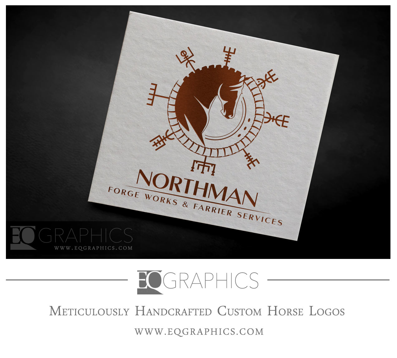 Northman Forge Works and Farrier Services Custom Nordic Horse Logo by EQ Graphics Equine Logos