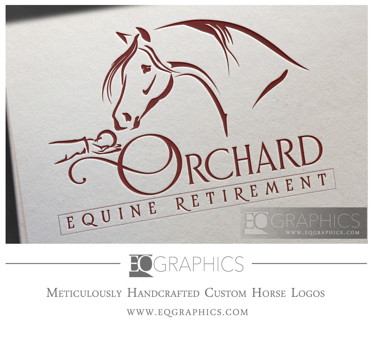 Orchard Equine Retirement Logo Design by EQ Graphics Designer Horse Logos