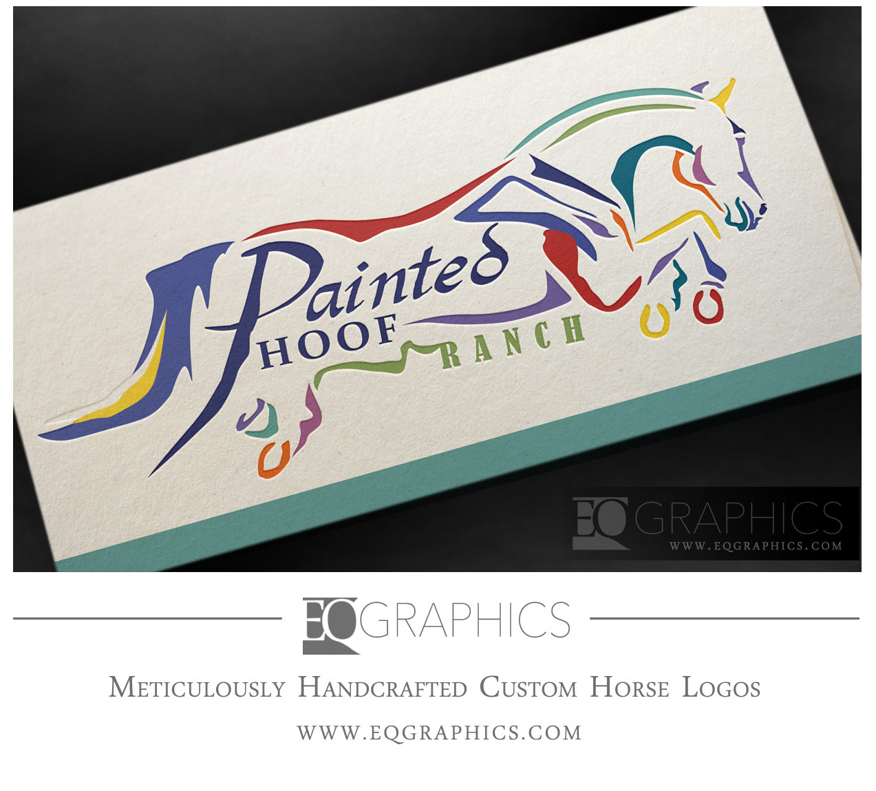 Painted Hoof Ranch Jumper Logo by EQ Graphics Jumping Horse Logo Design Inspiration