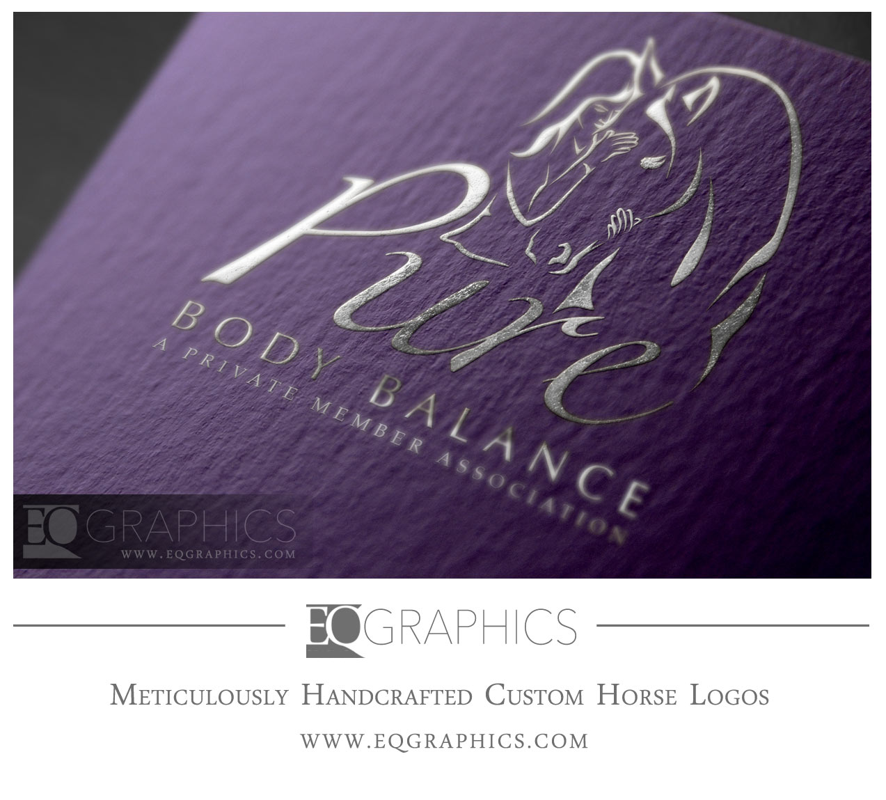 Pure Body Balance Equine Bodywork Massage Logo Design with Person Hugging Horse by EQ Graphics