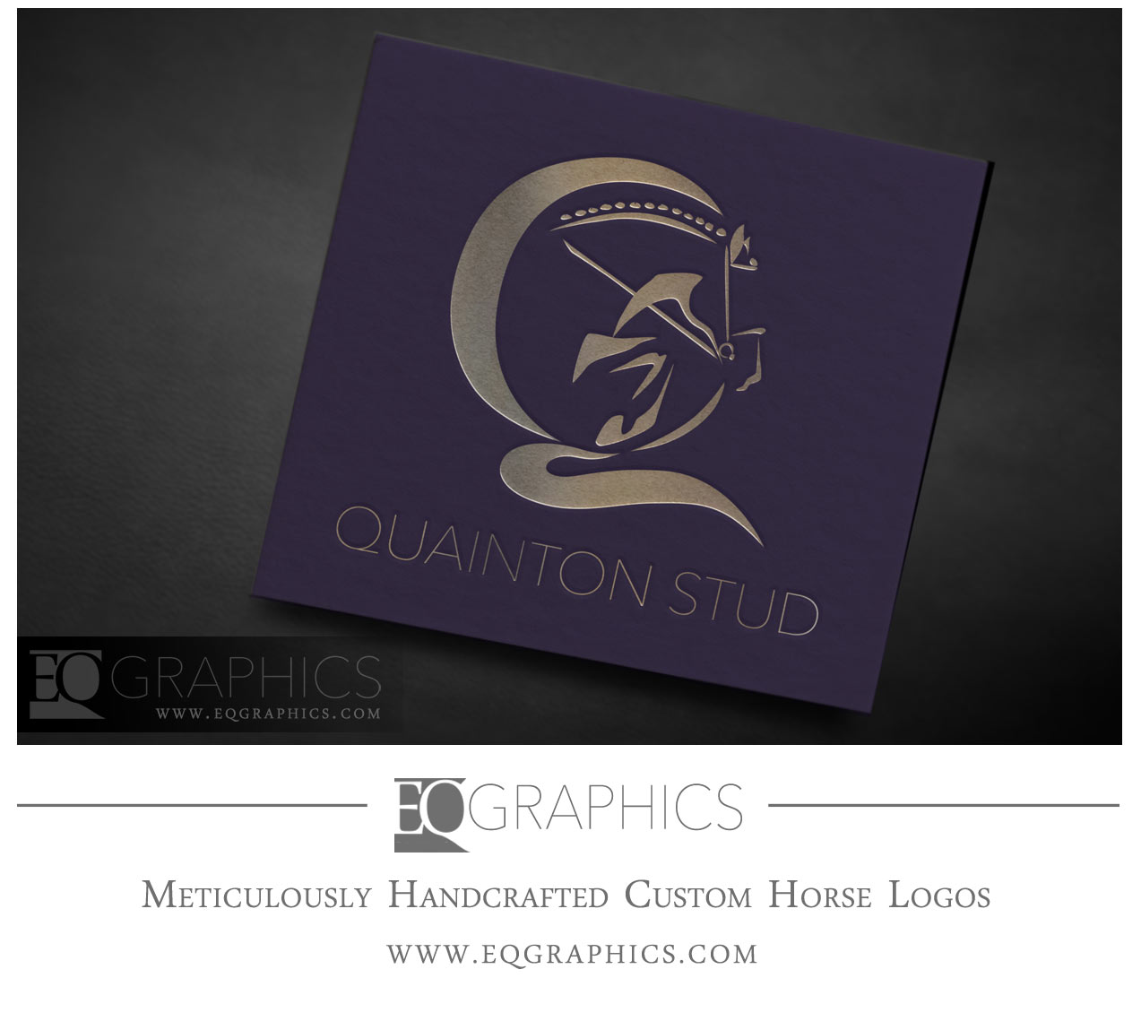 Quainton Stud UK Jumping Horse Logo Equestrian Show Jumper Facility Logos by EQ Graphics