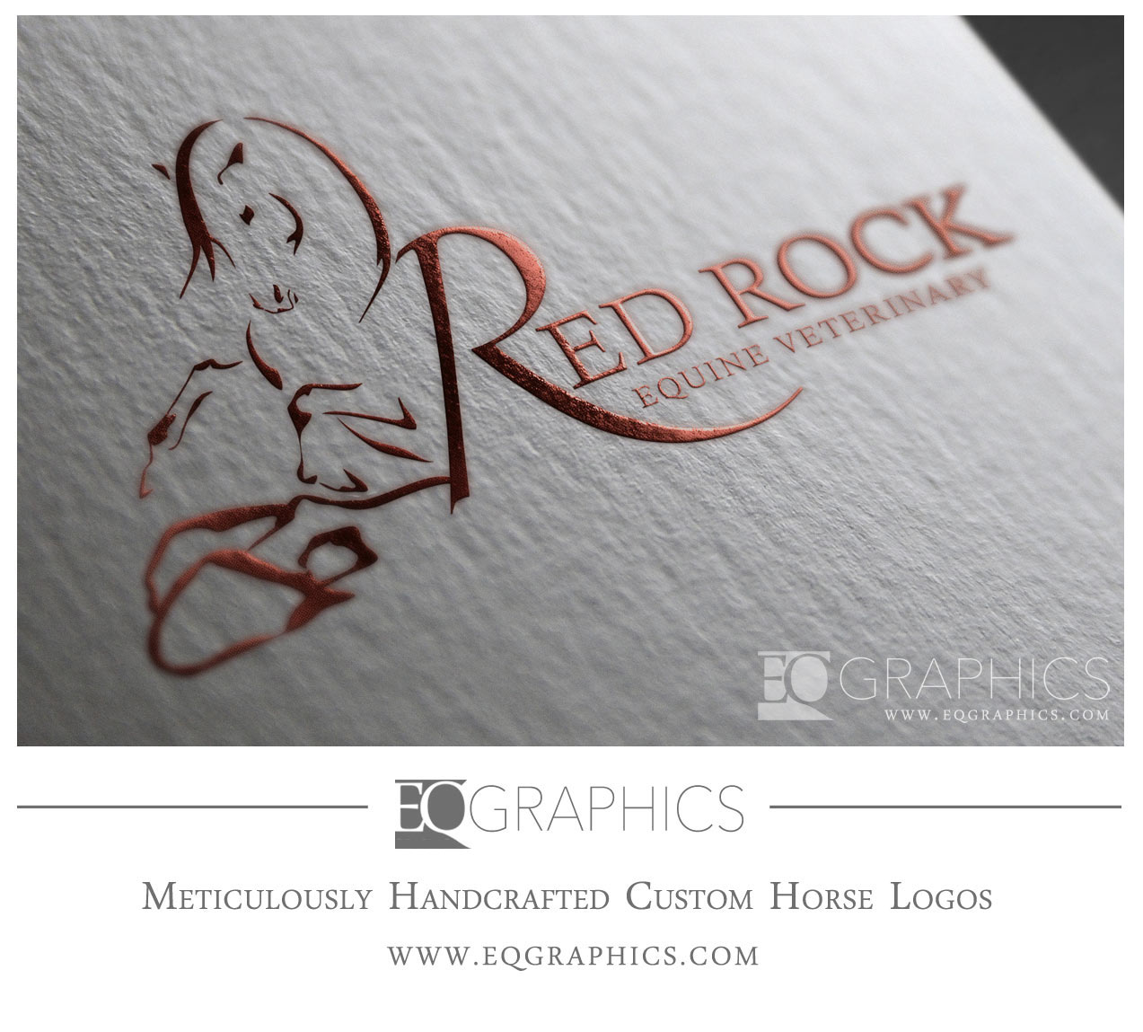 Red Rock Equine Veterinary Logo Design Washington Veterinarian by EQ Graphics