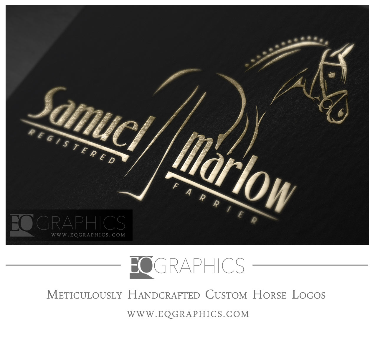 Samuel Marlow Horseshoing Farrier Logo Design by EQ Graphics Equine Logos for Farriers
