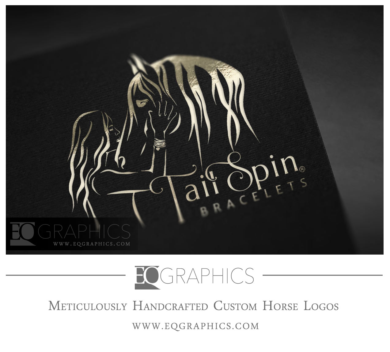 Tailspin Bracelets Horse Woman Girl Logo Design by EQ Graphics Custom Equine Logos
