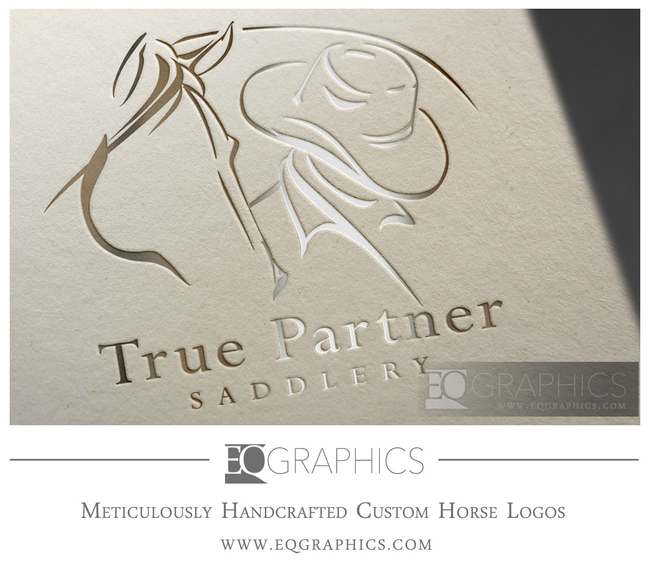 True Partner Saddlery Horse Cowboy Logo Design by EQ Graphics Equine Logos