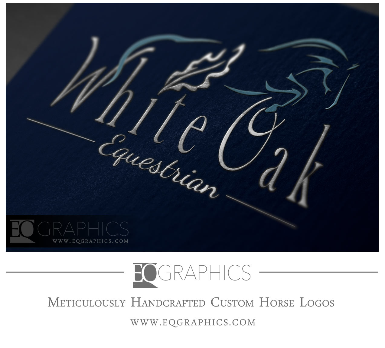 White Oak Equestrian Jumping Horse Hunter Jumper Logo by Equine Designer EQ Graphics